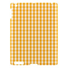 Pale Pumpkin Orange And White Halloween Gingham Check Apple Ipad 3/4 Hardshell Case by PodArtist