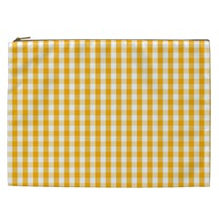 Pale Pumpkin Orange And White Halloween Gingham Check Cosmetic Bag (xxl)  by PodArtist