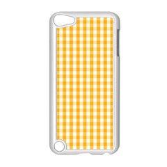 Pale Pumpkin Orange And White Halloween Gingham Check Apple Ipod Touch 5 Case (white) by PodArtist