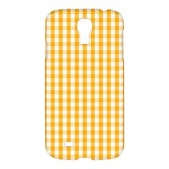 Pale Pumpkin Orange And White Halloween Gingham Check Samsung Galaxy S4 I9500/i9505 Hardshell Case by PodArtist