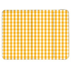 Pale Pumpkin Orange And White Halloween Gingham Check Samsung Galaxy Tab 7  P1000 Flip Case by PodArtist