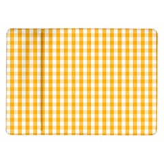 Pale Pumpkin Orange And White Halloween Gingham Check Samsung Galaxy Tab 10 1  P7500 Flip Case by PodArtist