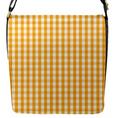 Pale Pumpkin Orange And White Halloween Gingham Check Flap Messenger Bag (s) by PodArtist