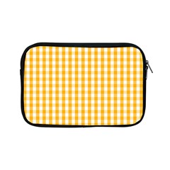 Pale Pumpkin Orange And White Halloween Gingham Check Apple Ipad Mini Zipper Cases by PodArtist