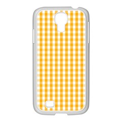 Pale Pumpkin Orange And White Halloween Gingham Check Samsung Galaxy S4 I9500/ I9505 Case (white) by PodArtist