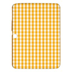 Pale Pumpkin Orange And White Halloween Gingham Check Samsung Galaxy Tab 3 (10 1 ) P5200 Hardshell Case  by PodArtist