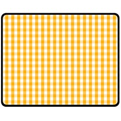 Pale Pumpkin Orange And White Halloween Gingham Check Double Sided Fleece Blanket (medium)  by PodArtist