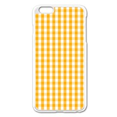 Pale Pumpkin Orange And White Halloween Gingham Check Apple Iphone 6 Plus/6s Plus Enamel White Case by PodArtist