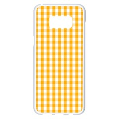 Pale Pumpkin Orange And White Halloween Gingham Check Samsung Galaxy S8 Plus White Seamless Case by PodArtist