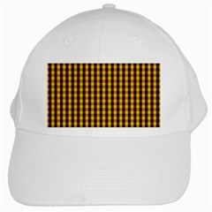 Pale Pumpkin Orange And Black Halloween Gingham Check White Cap by PodArtist