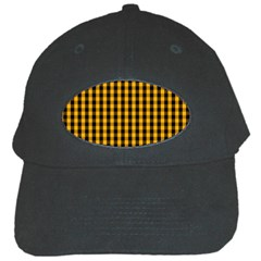 Pale Pumpkin Orange And Black Halloween Gingham Check Black Cap by PodArtist