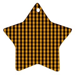 Pale Pumpkin Orange And Black Halloween Gingham Check Ornament (star) by PodArtist