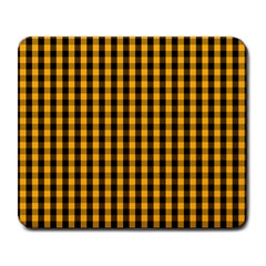 Pale Pumpkin Orange And Black Halloween Gingham Check Large Mousepads by PodArtist