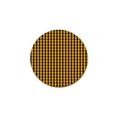 Pale Pumpkin Orange And Black Halloween Gingham Check Golf Ball Marker (10 Pack) by PodArtist