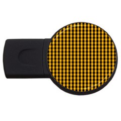Pale Pumpkin Orange And Black Halloween Gingham Check Usb Flash Drive Round (2 Gb) by PodArtist