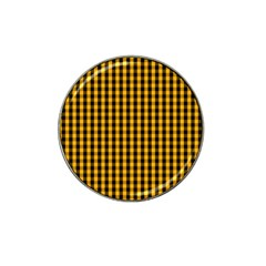 Pale Pumpkin Orange And Black Halloween Gingham Check Hat Clip Ball Marker (4 Pack) by PodArtist