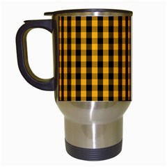 Pale Pumpkin Orange And Black Halloween Gingham Check Travel Mugs (white) by PodArtist