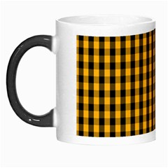 Pale Pumpkin Orange And Black Halloween Gingham Check Morph Mugs by PodArtist