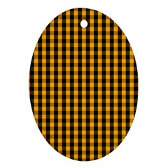 Pale Pumpkin Orange And Black Halloween Gingham Check Oval Ornament (two Sides) by PodArtist