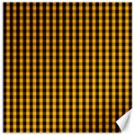 Pale Pumpkin Orange and Black Halloween Gingham Check Canvas 16  x 16   16 x16 Canvas - 1