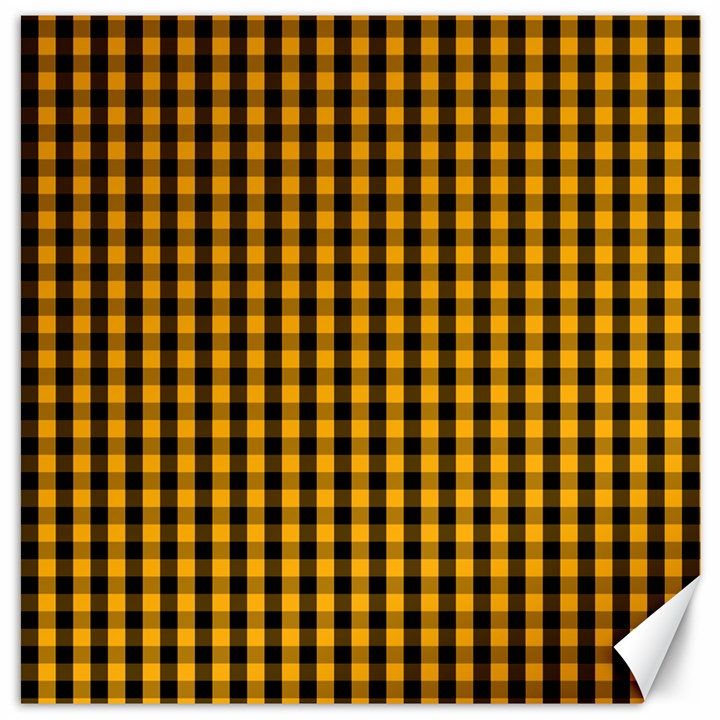 Pale Pumpkin Orange and Black Halloween Gingham Check Canvas 16  x 16