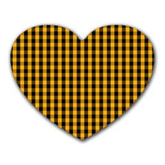 Pale Pumpkin Orange And Black Halloween Gingham Check Heart Mousepads by PodArtist