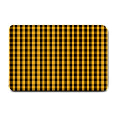 Pale Pumpkin Orange And Black Halloween Gingham Check Small Doormat  by PodArtist