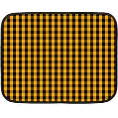 Pale Pumpkin Orange And Black Halloween Gingham Check Fleece Blanket (mini) by PodArtist