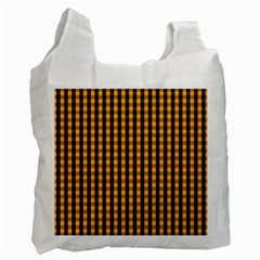 Pale Pumpkin Orange And Black Halloween Gingham Check Recycle Bag (two Side)  by PodArtist