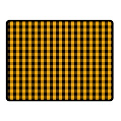 Pale Pumpkin Orange And Black Halloween Gingham Check Fleece Blanket (small) by PodArtist