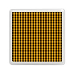 Pale Pumpkin Orange And Black Halloween Gingham Check Memory Card Reader (square)  by PodArtist
