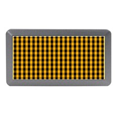Pale Pumpkin Orange And Black Halloween Gingham Check Memory Card Reader (mini) by PodArtist