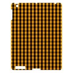 Pale Pumpkin Orange And Black Halloween Gingham Check Apple Ipad 3/4 Hardshell Case by PodArtist