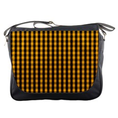 Pale Pumpkin Orange And Black Halloween Gingham Check Messenger Bags by PodArtist