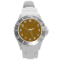 Pale Pumpkin Orange And Black Halloween Gingham Check Round Plastic Sport Watch (l) by PodArtist