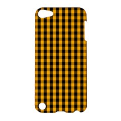 Pale Pumpkin Orange And Black Halloween Gingham Check Apple Ipod Touch 5 Hardshell Case by PodArtist