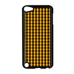 Pale Pumpkin Orange And Black Halloween Gingham Check Apple Ipod Touch 5 Case (black) by PodArtist