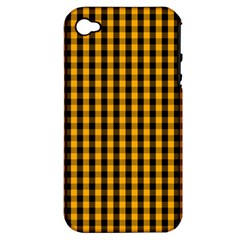 Pale Pumpkin Orange And Black Halloween Gingham Check Apple Iphone 4/4s Hardshell Case (pc+silicone) by PodArtist