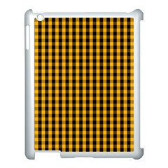 Pale Pumpkin Orange And Black Halloween Gingham Check Apple Ipad 3/4 Case (white) by PodArtist