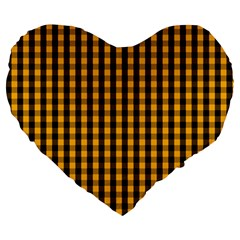 Pale Pumpkin Orange And Black Halloween Gingham Check Large 19  Premium Heart Shape Cushions by PodArtist