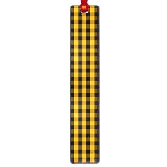 Pale Pumpkin Orange And Black Halloween Gingham Check Large Book Marks by PodArtist