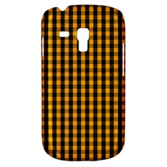 Pale Pumpkin Orange And Black Halloween Gingham Check Galaxy S3 Mini by PodArtist