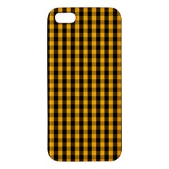 Pale Pumpkin Orange And Black Halloween Gingham Check Apple Iphone 5 Premium Hardshell Case by PodArtist