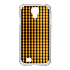 Pale Pumpkin Orange And Black Halloween Gingham Check Samsung Galaxy S4 I9500/ I9505 Case (white) by PodArtist