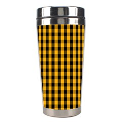 Pale Pumpkin Orange And Black Halloween Gingham Check Stainless Steel Travel Tumblers by PodArtist