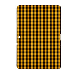 Pale Pumpkin Orange And Black Halloween Gingham Check Samsung Galaxy Tab 2 (10 1 ) P5100 Hardshell Case  by PodArtist