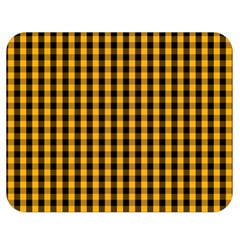 Pale Pumpkin Orange And Black Halloween Gingham Check Double Sided Flano Blanket (medium)  by PodArtist