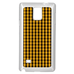 Pale Pumpkin Orange And Black Halloween Gingham Check Samsung Galaxy Note 4 Case (white) by PodArtist