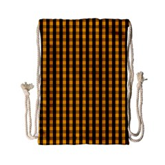 Pale Pumpkin Orange And Black Halloween Gingham Check Drawstring Bag (small) by PodArtist