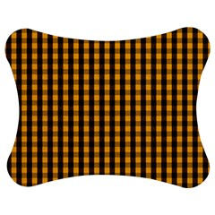 Pale Pumpkin Orange And Black Halloween Gingham Check Jigsaw Puzzle Photo Stand (bow) by PodArtist